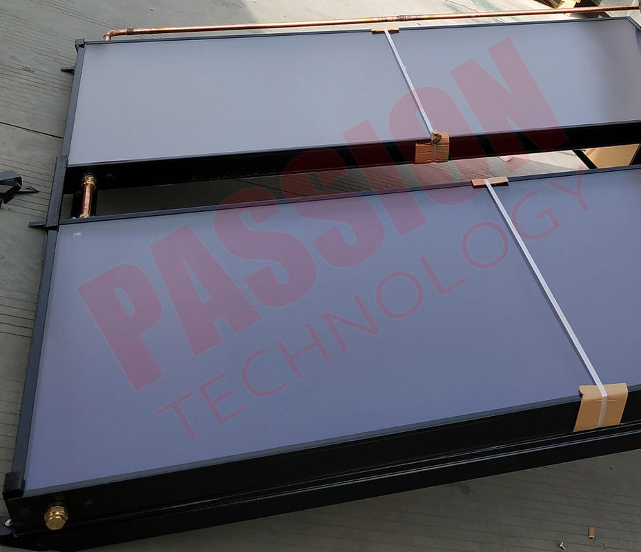 Black Aluminum Alloy Copper Pipe Flat Plate Solar Collector , Solar Water Heater Collector